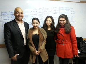 2014-01-18 Yeonmi rejoins Teach North Korean Refugees, collects several teachers, studies like a maniac. Here she is with 3 Harvard graduates who were her teachers and mentors.