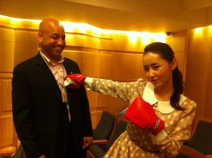 "2013-07-26: Before Tedx speech, she was really nervous. You bought her a pair of boxing gloves for ""fighting,"" she began punching, said she relaxed.^^"